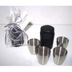Set 4 vasitos chupito en funda piel con abaca y tarjeta