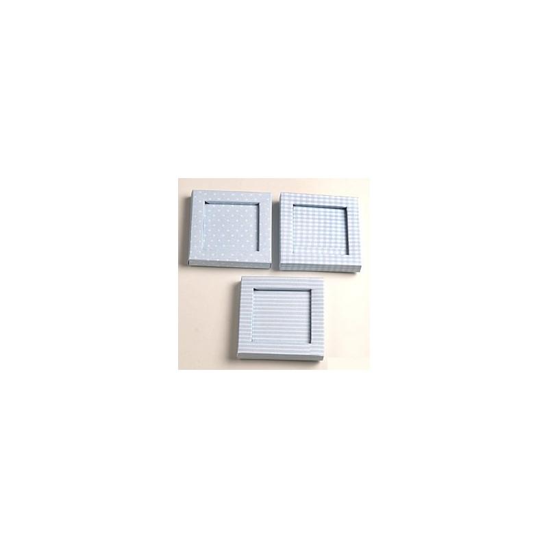 Caja marco topos, rayas y cuadros con caja transparente ...