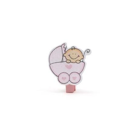 Pinza bebé carricoche rosa