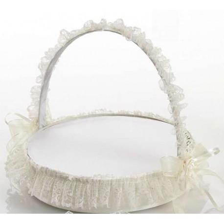 Cesta de gran tamaño y decorada con puntillas para presentar los prendidos de la boda