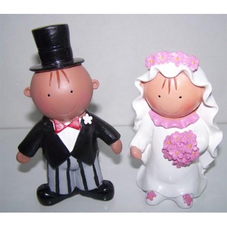 Novios morenitos, figuras para la tarta de boda