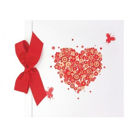 Libro firmas Boda corazón flores con lazo, colección FRESCURA