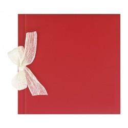Libro de firmas boda Rojo gofrado con lazo