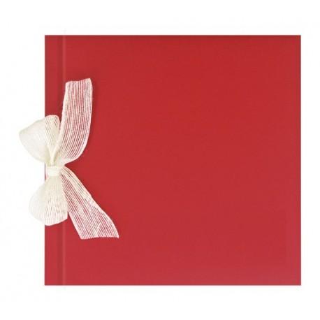 Libro de firmas para boda Rojo gofrado con lazo