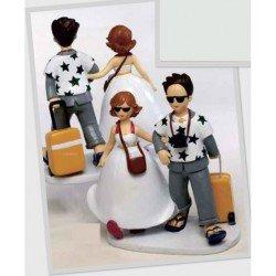 Figura tarta novios viajeros
