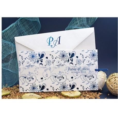 Invitación de Boda blanca con detalles azul brillo