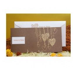Invitación boda marrón brillo detalles dorados