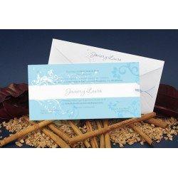 Invitación de Boda detalles florales en azul