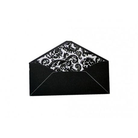 Pack de 25 sobres negros y forro interior con estampado barroco