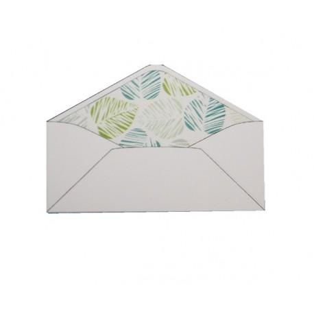 Pack de 25 sobres blancos y forro interior con estampado de hojas