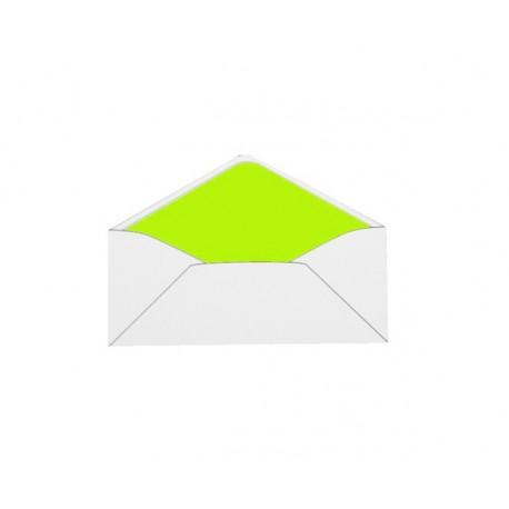 Pack de 25 sobres blancos con forro verde lima