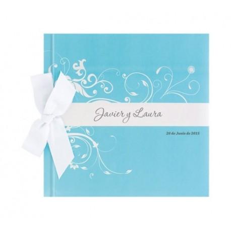 Libro firmas de boda lazo con detalles florales