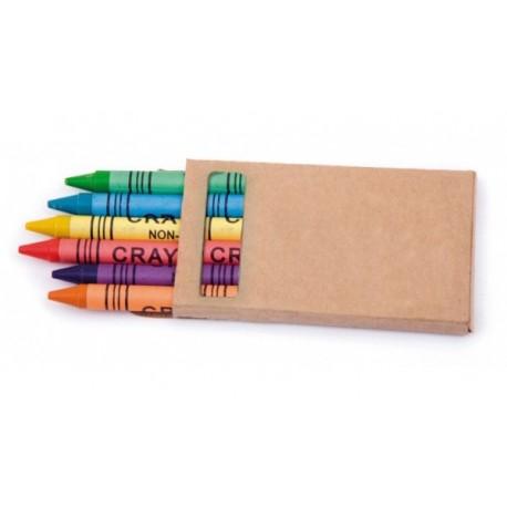 Estuche de cartó con 6 ceras de colores