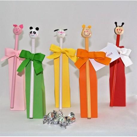Lápices infantiles decorados con cabeza de animalitos y caramelos