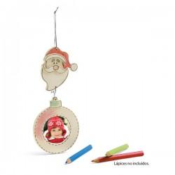Marco de fotos madera Papá Noel, para colorear y colgar