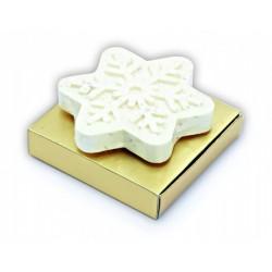 Jabón copo de nieve, en cajita dorada