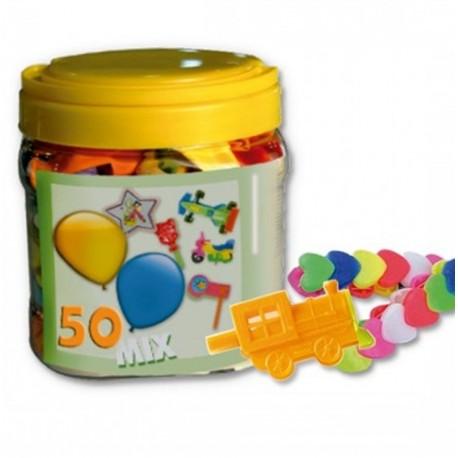 Bote con 25 globos y 25 juguetes para Piñatas