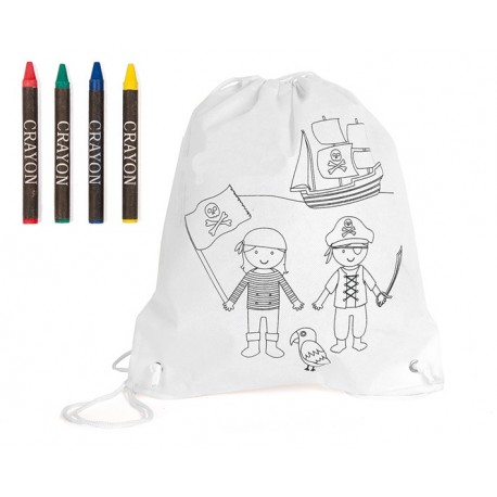Mochila infantil piratas para colorear y 4 ceras
