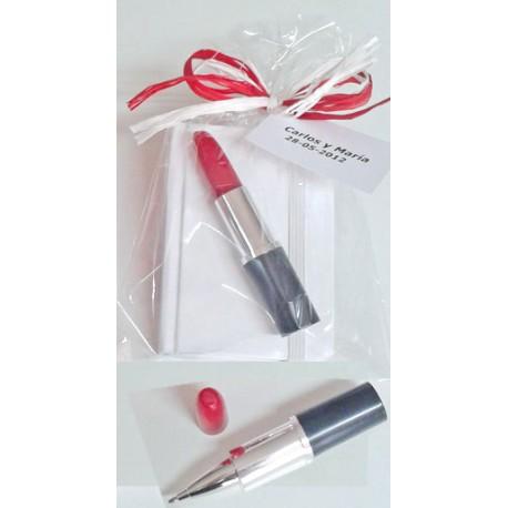 Bloc notas con bolígrafo barra labios, detalles para ellas