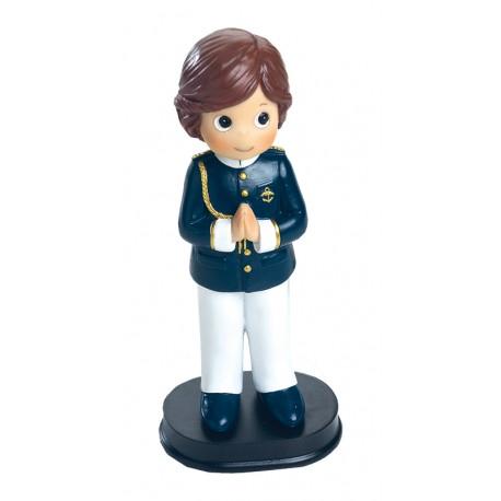 Figura para la tarta de Primera Comunión niño con casaca azul
