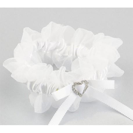 Liga novia punta blanca con broche corazón