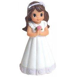 Figurita niña Comunión vestido con detalle lila