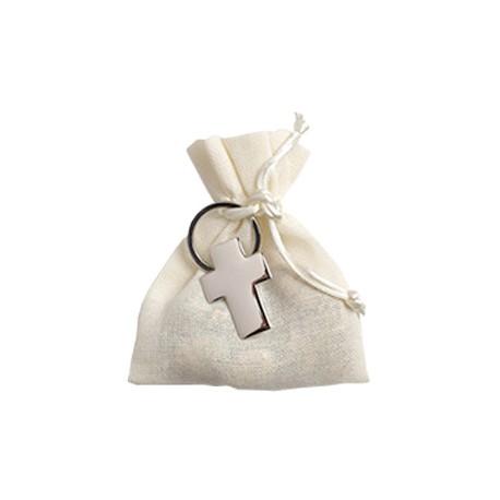 Llavero Cruz en bolsita algodón con 3 bombones
