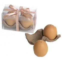 Salero y pimentero con forma de huevos, con lazo y tarjeta