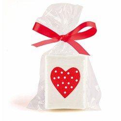 Jabón corazón en en bolsa