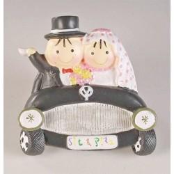Imán Pit y Pita novios en coche