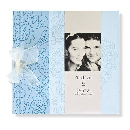 Libro firmas de boda Barroco azul