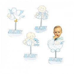 Clip sujeta fotos madera bebé azul
