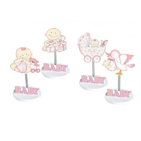 Clip sujeta fotos, figuras de madera bebés en rosa