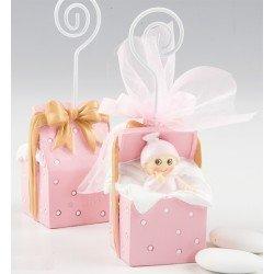 Portafotos niña bebé en cajita con peladillas