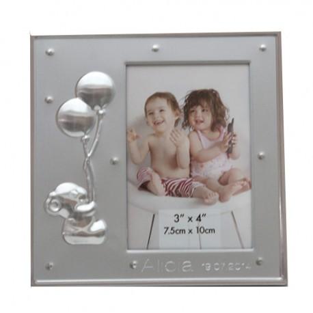 Portarretratos metal con osito y globos. Detalles para bautizo