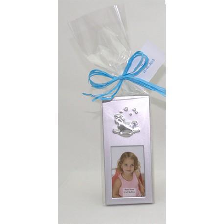 Marco de fotos de metal con caballito en bolsa y tarjeta, para bautizo