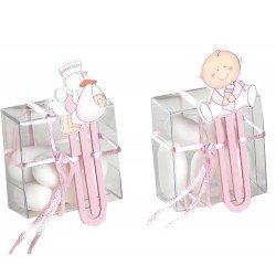Punto lectura madera bebé rosa con peladillas