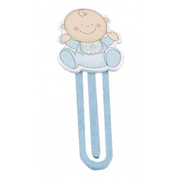 Punto de libro madera bebé azul
