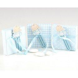 Punto de libro bebé azul con peladillas