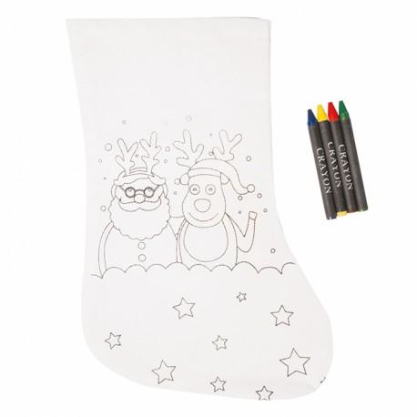 Calcetín navideño para pintar, Papá Noel y Reno