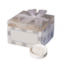 Pastilla de Jabón copo de nieve en caja con lazo
