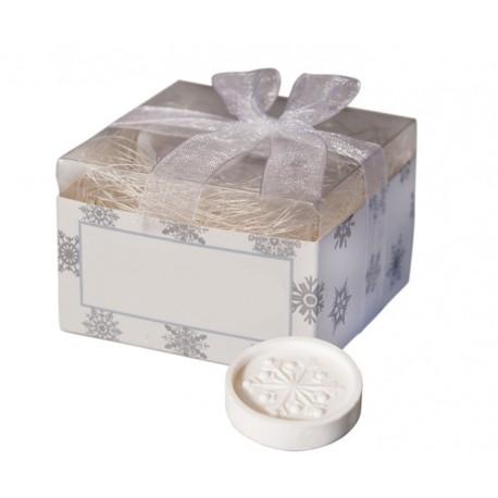Pastilla de jabón decorada con un copo de nieve , en caja con lazo