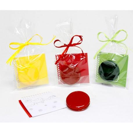 Libreta de plantillas con yoyo en bolsa y tarjeta personalizada