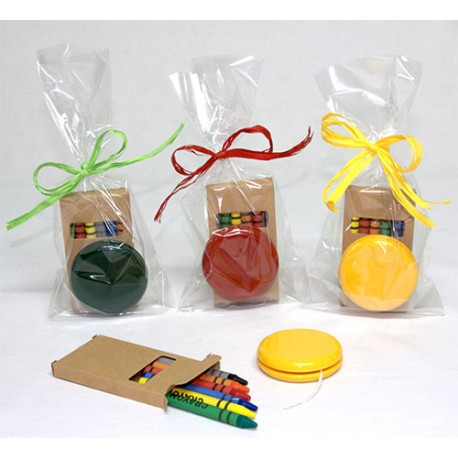 Bolsa cumpleaños yo-yo y caja 6 ceras de colores