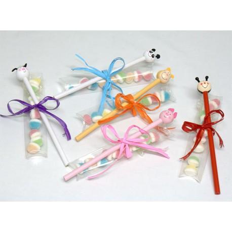 Cajita de gominolas con lápiz animalitos y tarjeta personalizada