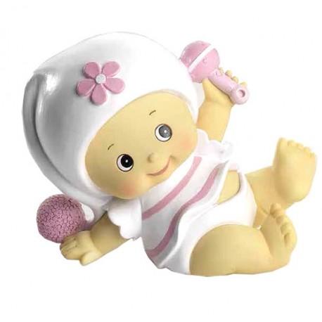 Figura tarta bautizo niña pijama blanco