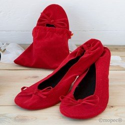 Bailarinas en bolsa terciopelo rojo