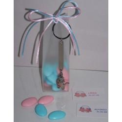 Llavero motivos bebé en caja con peladillas chocolate