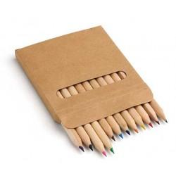 Caja con 12 lápices colores en madera