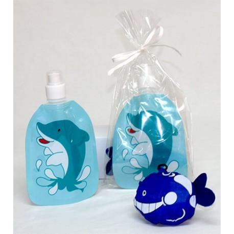 Set de botella plegable infantil y mochila plegable animals. Modelo delfín
